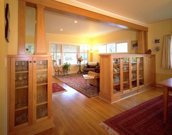 craftsman bookcase, craftsman room divider, craftsman columns, craftsman interior