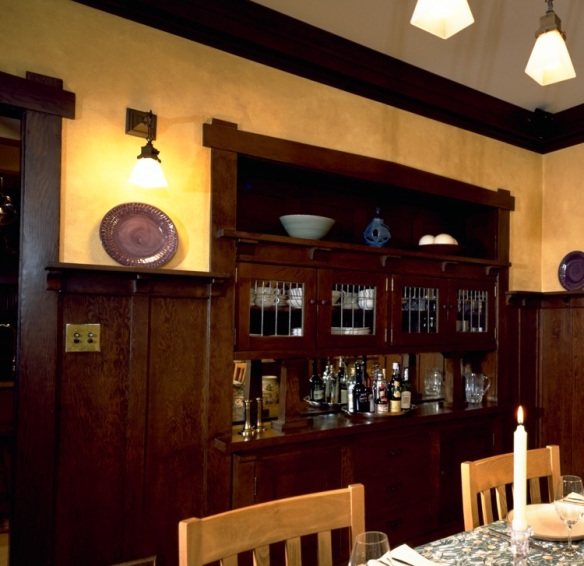 craftsman interior, craftsman style, craftsman dining room, craftsman wainscot, craftsman detail