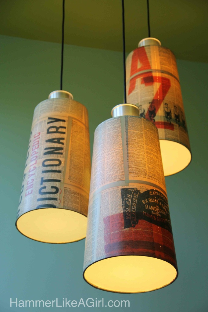 DIY paper covered lampshades