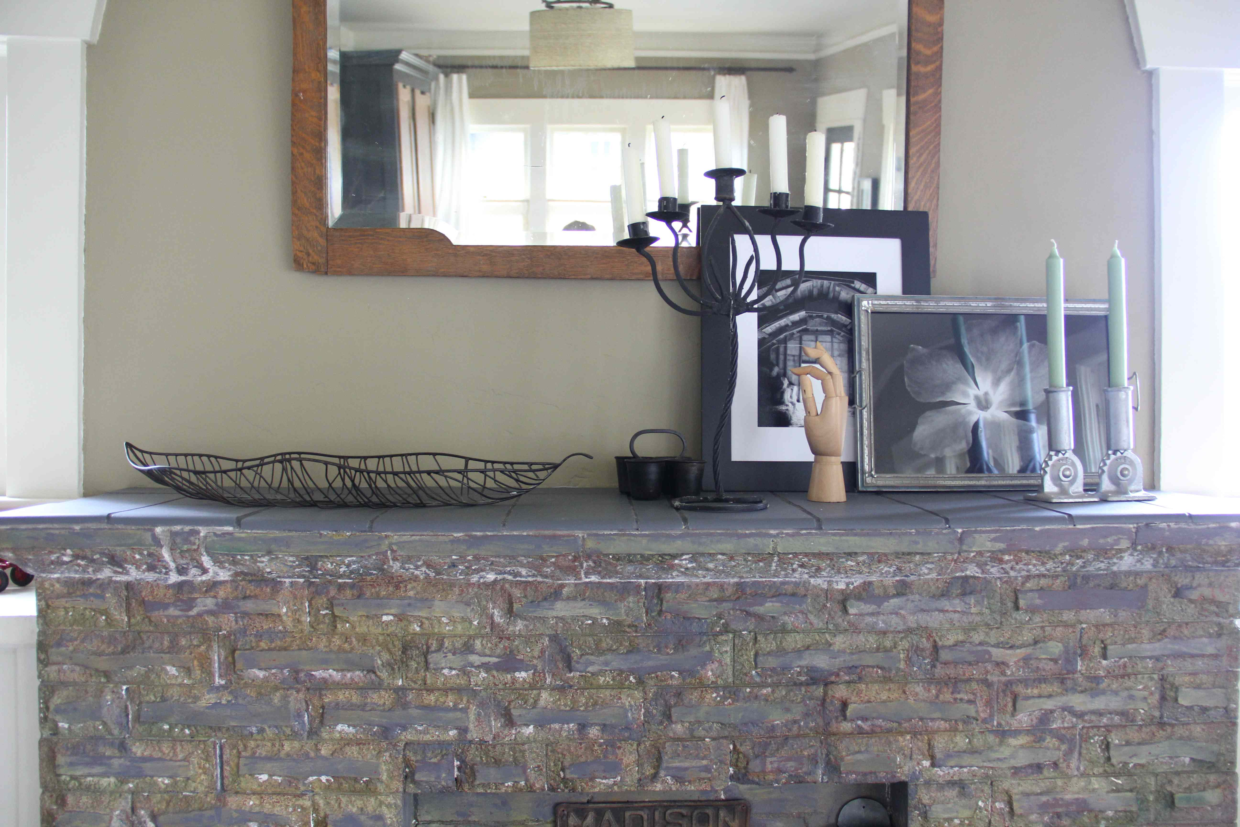 Updated Mantel Plaster Repair And Painted Tile Hammer Like A Girl