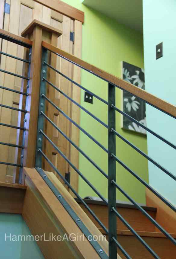 stair railing design, custom stair railing, metal and wood staircase, modern stair