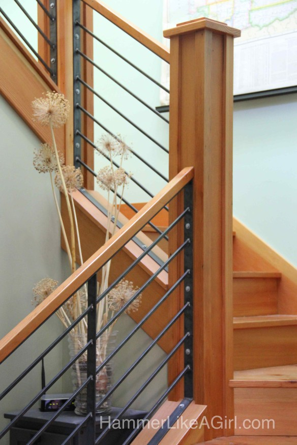 railing design, custom stair railing, metal and wood staircase, modern ...