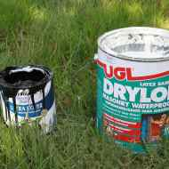 "The first coat of paint made of Drylok and exterior paint mixed together. Waterproof. It's called ""Monster Mud""."