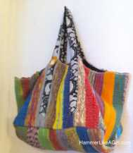 Upcycled rug, Tote from recycled, upcycle good